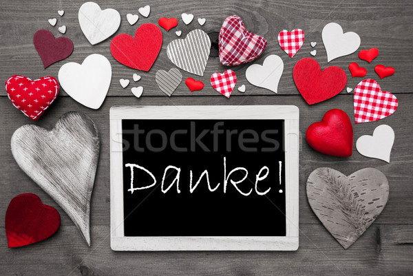 Chalkbord With Many Red Hearts, Danke Means Thank You Stock photo © Nelosa