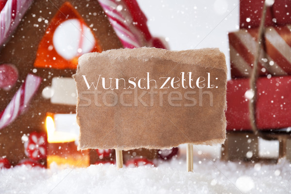 Gingerbread House With Sled, Snowflakes, Wunschzettel Means Wish List Stock photo © Nelosa