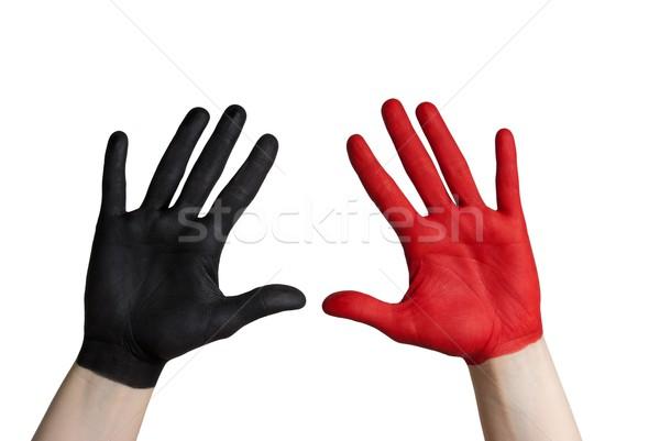 Rojo negro mano pintado aislado fiesta Foto stock © Nelosa