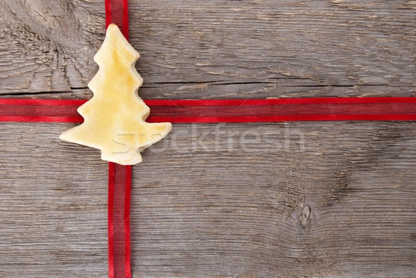 red ribbon with christmas tree cookie Stock photo © Nelosa