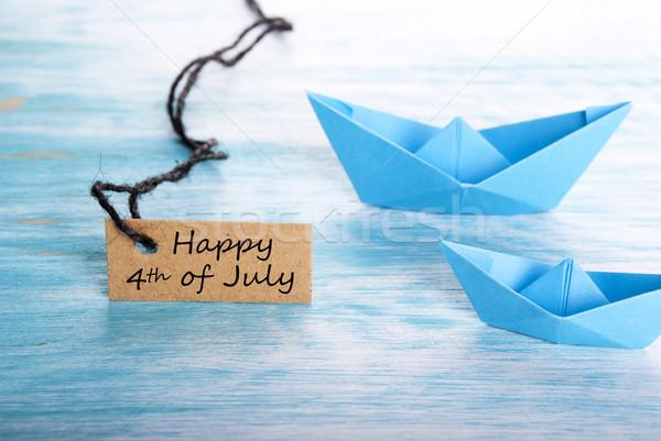 Hajók boldog negyedike címke buli fa Stock fotó © Nelosa