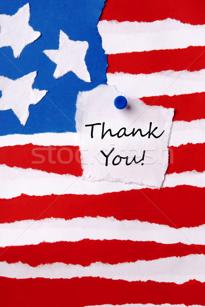 Thank You Note on American Paper Flag Stock photo © Nelosa