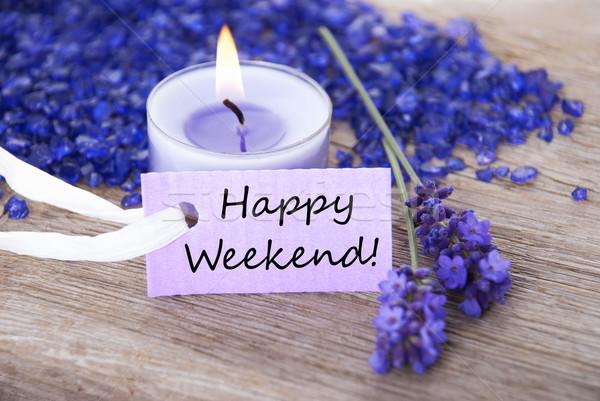 Pourpre étiquette texte heureux week-end lavande Photo stock © Nelosa