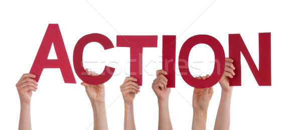 Many People Hands Holding Red Straight Word Action Stock photo © Nelosa