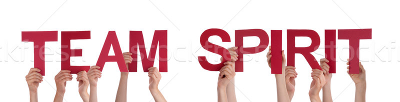 People Hands Holding Red Straight Word Team Spirit Stock photo © Nelosa