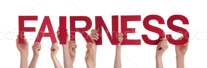 People Hands Holding Red Straight Word Fairness Stock photo © Nelosa
