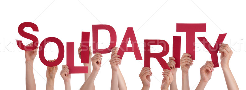 Many People Hands Holding Red Word Solidarity  Stock photo © Nelosa