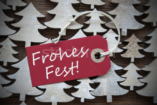 Red Label Frohes Fest Means Merry Christmas Stock photo © Nelosa