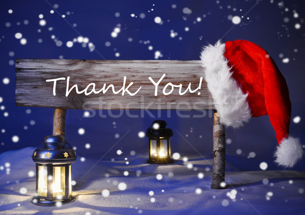 Christmas Card With Sign, Candlelight Santa Hat, Thank You Stock photo © Nelosa