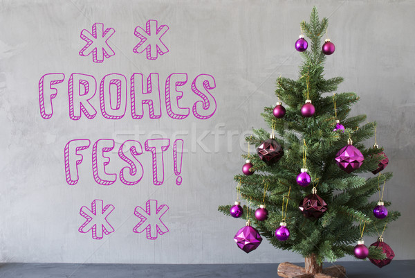 Tree, Cement Wall, Text Frohes Fest Means Merry Christmas Stock photo © Nelosa