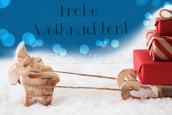 Reindeer With Sled, Blue Background, Frohe Weihnachten Means Merry Christmas Stock photo © Nelosa