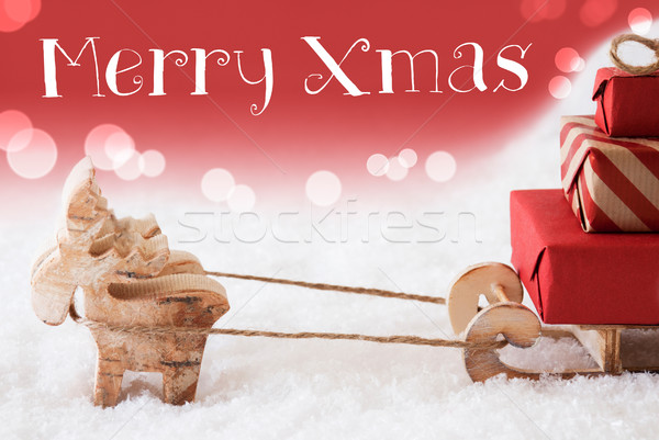 Reindeer With Sled, Red Background, Text Merry Xmas Stock photo © Nelosa