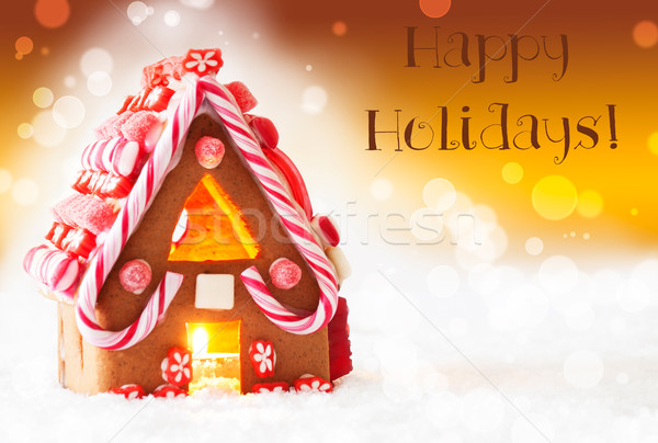 Gingerbread House, Golden Background, Text Happy Holidays Stock photo © Nelosa