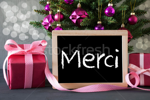Tree With Gifts, Bokeh, Text Merci Means Thank You Stock photo © Nelosa