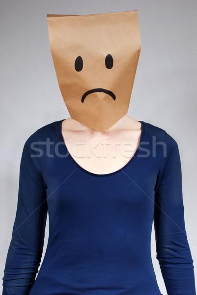 üzücü kişi üzüntü gri maske korku Stok fotoğraf © Nelosa