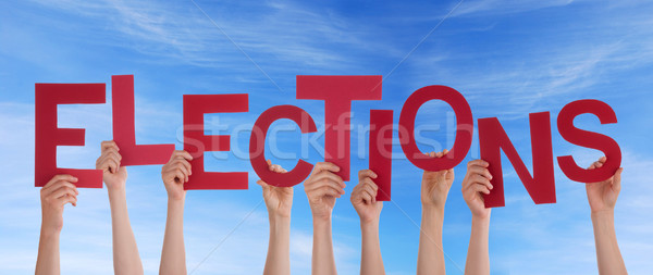 Hands Holding Elections in the Sky Stock photo © Nelosa