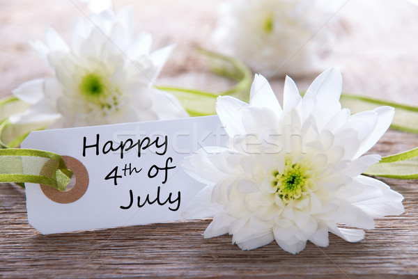 White Flowers with Happy 4th of July Stock photo © Nelosa