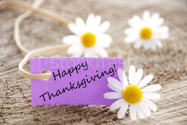 Purple Label with Happy Thanksgiving Stock photo © Nelosa