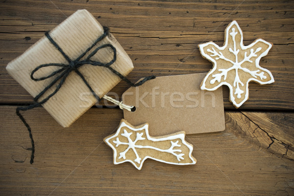 Brown Banner with Copy Space and Christmas Decoration Stock photo © Nelosa