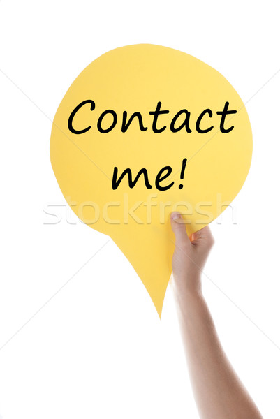 Citromsárga szöveglufi kapcsolat engem egy kéz Stock fotó © Nelosa