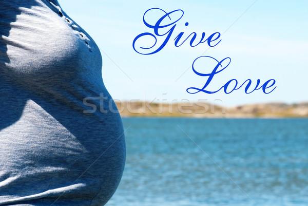 Terhes nő kék tenger szöveg ad szeretet Stock fotó © Nelosa