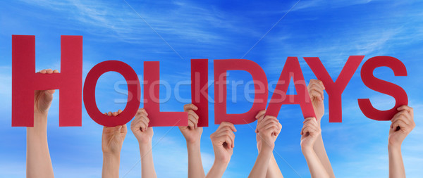Hands Holding Red Straight Word Holidays Blue Sky Stock photo © Nelosa