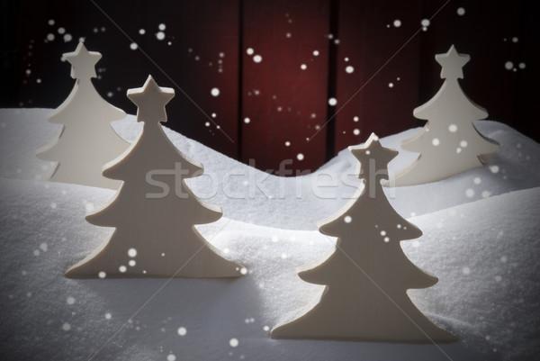 Four White Wooden Christmas Trees, Snow, Snowflakes Stock photo © Nelosa