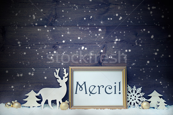 Vintage White And Golden Christmas Card, Merci Mean Thank You Stock photo © Nelosa