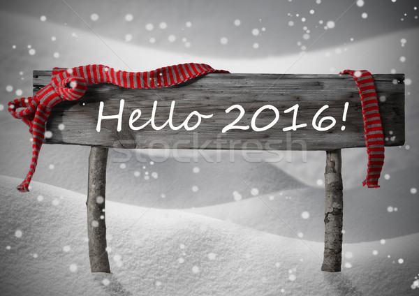 Gray Christmas Sign Hello 2016, Snow, Red Ribbon, Snowflakes Stock photo © Nelosa