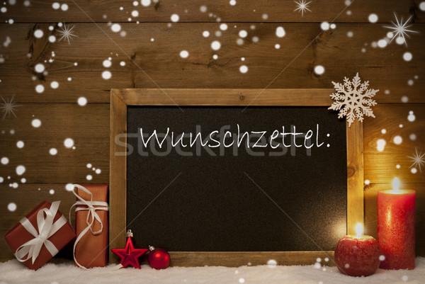 Christmas Card, Blackboard, Snowflakes, Wunschzettel, Wish List Stock photo © Nelosa