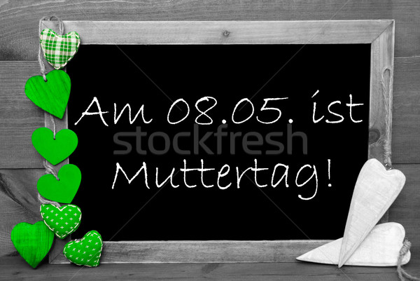 Gray Blackbord, Green Hearts, Muttertag Means Mothers Day Stock photo © Nelosa