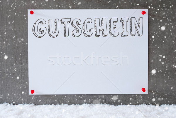 Label On Cement Wall, Snowflakes, Gutschein Means Voucher Stock photo © Nelosa