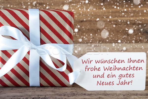 Present With Snowflakes, Weihnachten Neues Jahr Means Christmas New Year Stock photo © Nelosa