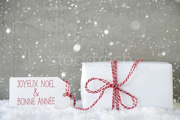Dom cimento flocos de neve ano novo um natal Foto stock © Nelosa