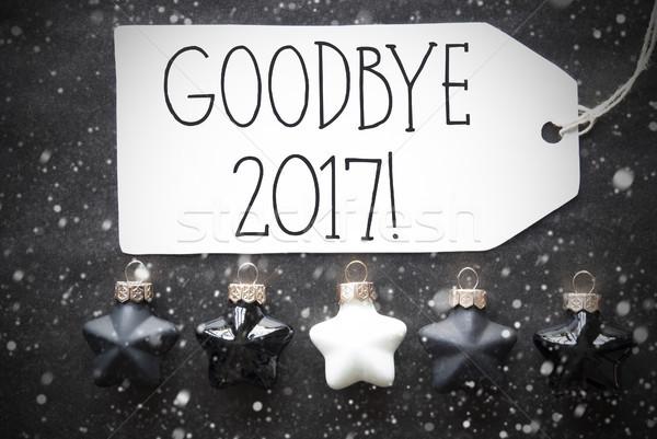 Stock photo: Black Christmas Balls, Snowflakes, Text Goodbye 2017