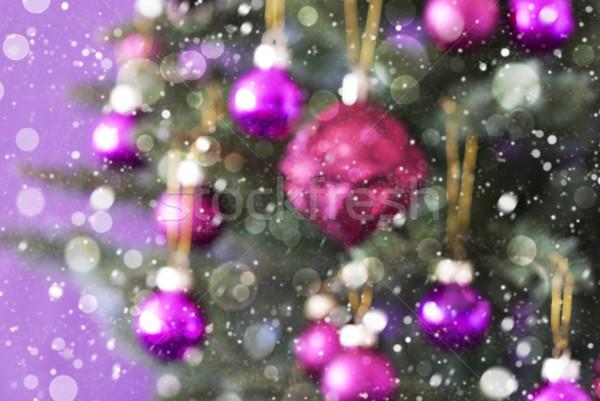 Blurry Christmas Tree With Rose Quartz Balls, Bokeh And Snowflakes Stock photo © Nelosa