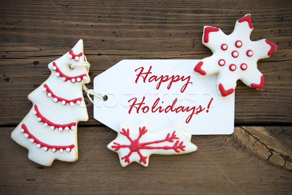 Red White Winter Background with Happy Holiday Greetings Stock photo © Nelosa