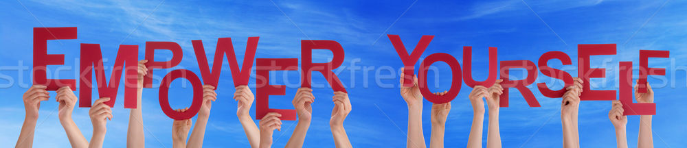 Kezek tart piros szó magad kék ég Stock fotó © Nelosa