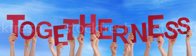 Hände halten rot Wort zusammengehörigkeit blauer Himmel Stock foto © Nelosa