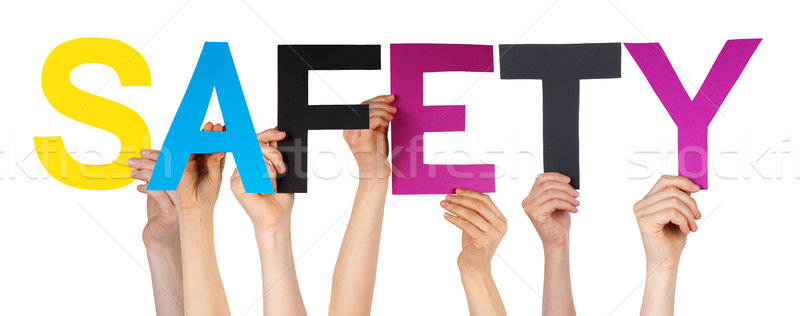 People Hands Hold Colorful Straight Word Safety  Stock photo © Nelosa