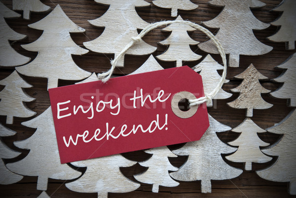 Red Christmas Label With Enjoy The Weekend Stock photo © Nelosa
