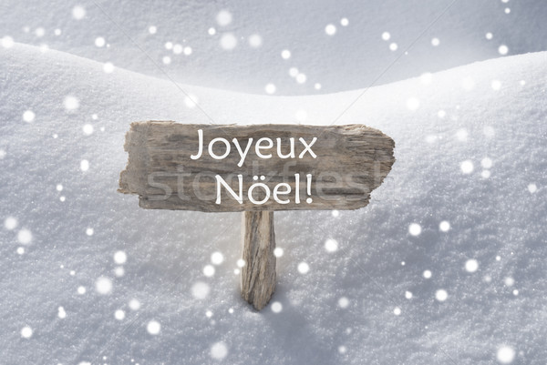Sign Snowflakes Joyeux Noel Mean Merry Christmas Stock photo © Nelosa
