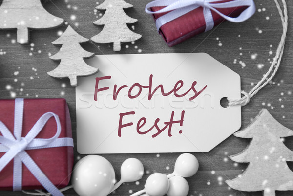 Label Gift Tree Snowflakes Frohes Fest Means Merry Christmas Stock photo © Nelosa