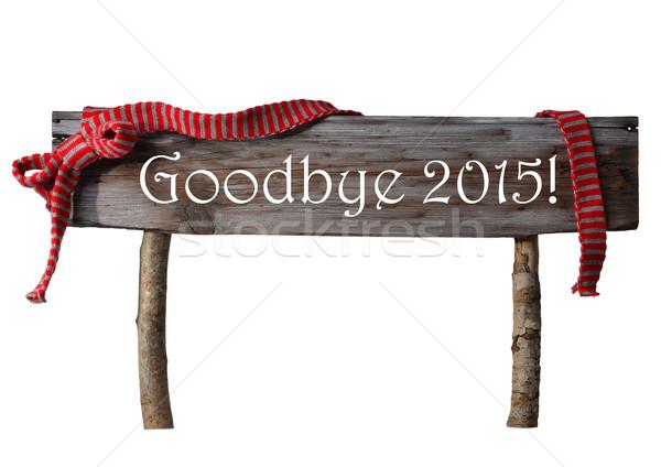 Barna izolált karácsony felirat viszlát 2015 Stock fotó © Nelosa