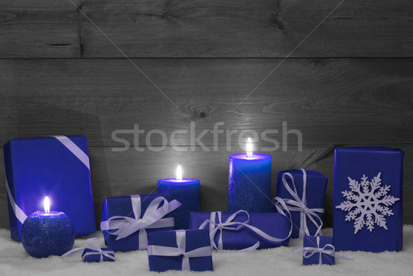 Christmas Decoration With Blue Candles, Presents And Snow Stock photo © Nelosa