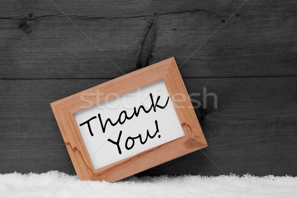 Picture Frame With Gray Background, Thank You, Snow Stock photo © Nelosa