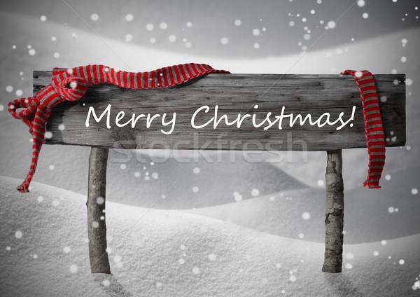 Stock photo: Brown Sign Merry Christmas,Snow, Snowfalkes