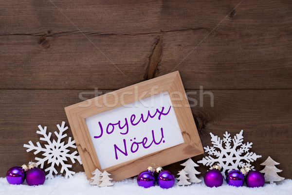Purple Decoration, Snow, Joyeux Noel Mean Merry Christmas Stock photo © Nelosa