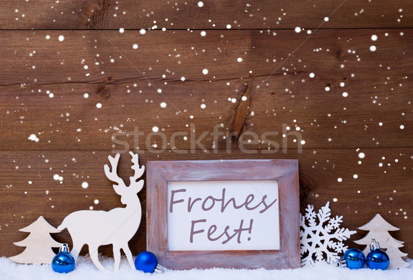 Card With Blue Decoration, Frohes Fest Means Merry Christmas Stock photo © Nelosa