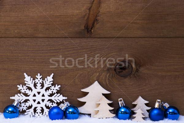 Foto stock: Azul · decoración · nieve · espacio · de · la · copia · Navidad